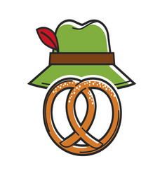 pretzel and green hat isolated on white vector image