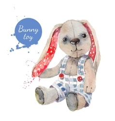 Watercolor bunny toy for vector image vector image