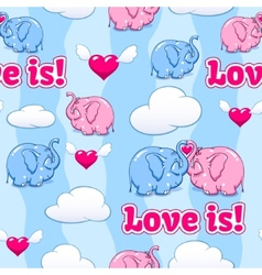 baby elephant in love pattern vector image vector image
