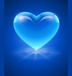 Blue glass heart vector image