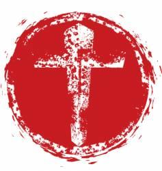 christian cross grunge stamp vector image