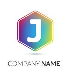 letter j logo symbol in the colorful hexagonal on vector image vector image