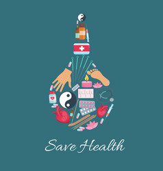 medical enema with alternative medicine icons vector image
