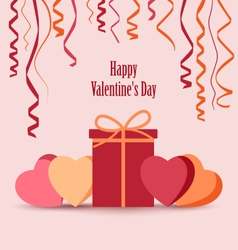 Valentines card with ribbons gift and hearts vector image vector image
