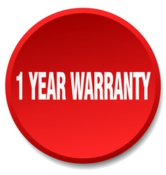 1 year warranty red round flat isolated push vector image