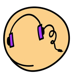 A Head Phone on Round Yellow Background vector image vector image