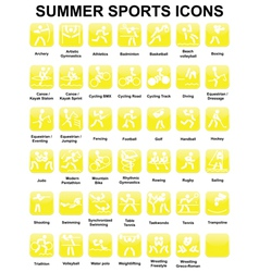 icons with summer sports vector image vector image