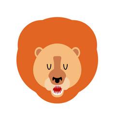 lion muzzle isolated leo face savannah wild vector image