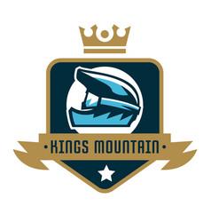 Logo kings mountain crown a bicycle helmet vector