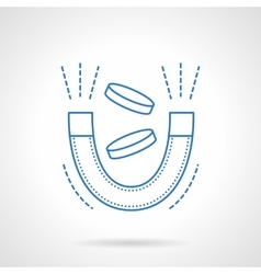 Magnet with coins blue flat line icon vector image