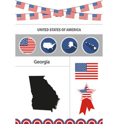 map of georgia set of flat design icons vector image vector image