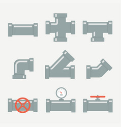 pipe fittings set vector image vector image