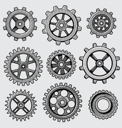 retro sketch mechanical gears hand drawn vintage vector image