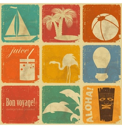 set of Vintage Travel Labels vector image