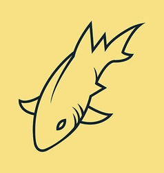 Shark Simple Line Art vector image