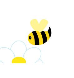 Abstract cartoon bee flying over chamomile vector