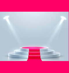 Abstract round podium with red carpet illuminated vector