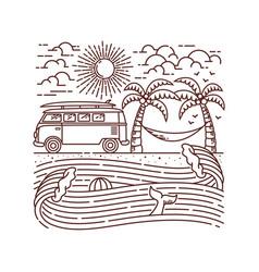 adventure beach line vector image