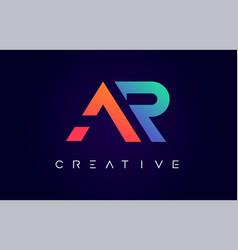 Ar logo letter design with modern creative vector