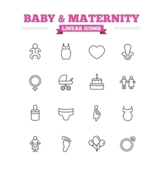 Baby and Maternity linear icons set Thin outline vector image