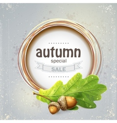 Background image for the big autumn sale with oak vector image