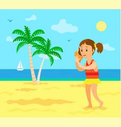 barefoot child on beach listening to seashell vector image