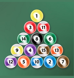 Billiard ball set realistic isolated vector