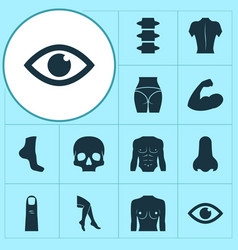 Body icons set with back finger breast and other vector