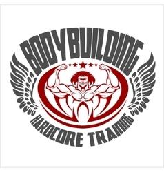 Bodybuilding emblem Isolated background vector image