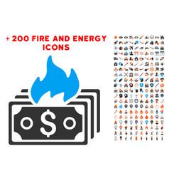 burn banknotes icon with bonus energy set vector image