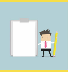 businessman holding clipboard with blank paper vector image vector image