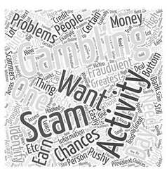 BWG how to spot a gambling scam Word Cloud Concept vector