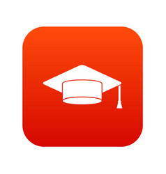 cap student icon digital red vector image