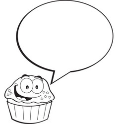 Cartoon cupcake with a caption balloon vector image