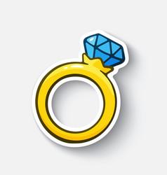 Cartoon sticker gold ring with a diamond vector
