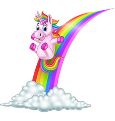 cartoon unicorn sliding on a rainbow vector image
