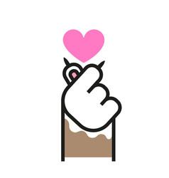 Cat paw shows sign love korean symbol vector