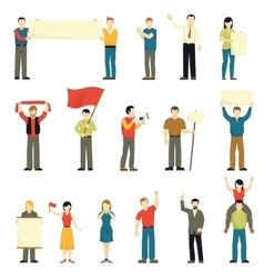 Cheering Protesting People Decorative Icons Set vector