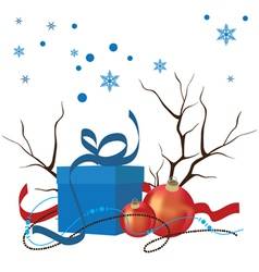 christmas composition decorations and gifts vector image