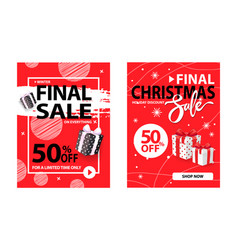 christmas final sale holiday discount wrapped gift vector image