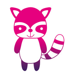 Color silhouette cute and happy raccoon wild vector