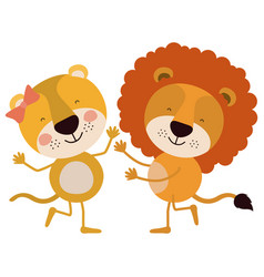 Colorful caricature with couple of lioness and vector