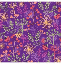 Colorful garden plants seamless pattern background vector image