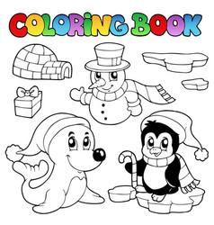 Coloring book wintertime animals 3 vector