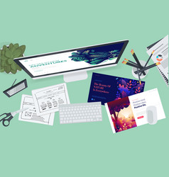 Creative workspace concept vector