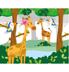 Cute wildlife animals vector