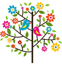 Decorative floral tree vector image