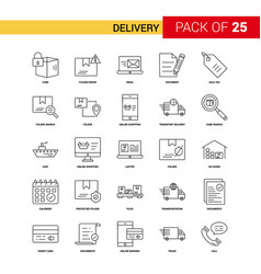 Delivery black line icon - 25 business outline vector