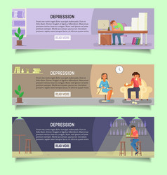 depressed people web banner template set vector image
