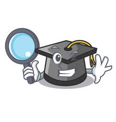 detective graduation hat character cartoon vector image